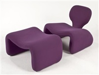 djinn chair and ottoman (set of 2) by olivier mourgue