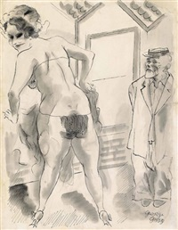 burlesque show, new york by george grosz