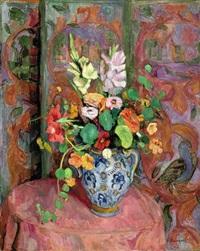 gladiolen und kapuzinerkresse in henkelvase by hans purrmann