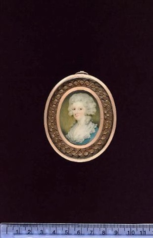 a lady wearing pale blue dress with white collar her hair powdered by edward miles