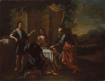 abraham bewirtet die drei himmlischen männer gott bei abraham im hintergrund sarah by austrian school tyrolean 17