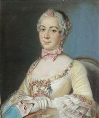 portrait de dame de qualité tenant un masque by pierre allais