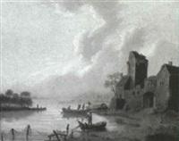 fishing in a river estuary by johannes koekkoek