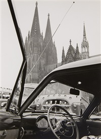 reiseomnibus an der südseite des domes (bus at the south side of the cathedral). st. aposteln vom neumarkt aus gesehen (st. apostels church as seen from neumarkt) (2 works) by wolff & tritschler