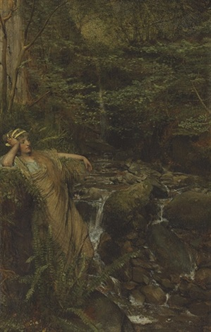 reverie waterfall nymph by sir lawrence alma tadema