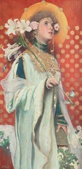 portrait de femme aux lys by gottlieb theodor von hartenkampf kempf