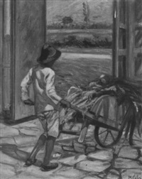boy pushing wheelbarrow by manuel cabré