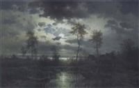 abendliche seelandschaft mit fischern by friedrich wilhelm ferdinand theodor albert