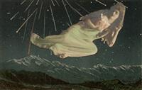 femme aérienne sur fond de nuit étoilée by paul éluard