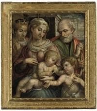 the holy family with the infant saint john the baptist and saint catherine of alexandria by innocenzo di pietro (da imola) francucci
