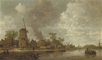 a river landscape with figures near a windmill and lime kilns by jan coelenbier