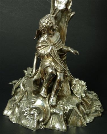 elkington & co silvered metal figural centerpiece