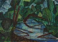 untitled - a bracebridge stream by william john bertram newcombe