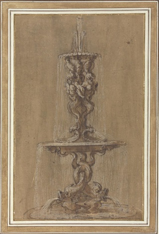 design for a fountain with conches and tritons above a basin supported by dolphins by gian lorenzo bernini
