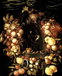 a roemer with walnuts and almonds in a niche surrounded by a garland of lemons, peaches, apricots, oranges, cherries and grapes with a red admiral, wasps and ladybirds and a canopy above by johannes borman