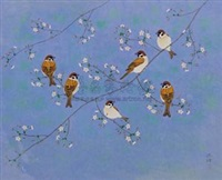麻雀·樱花 (sparrow and cherry blossoms) by yao xudeng