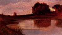 an autumnal lake landscape by pietro senno