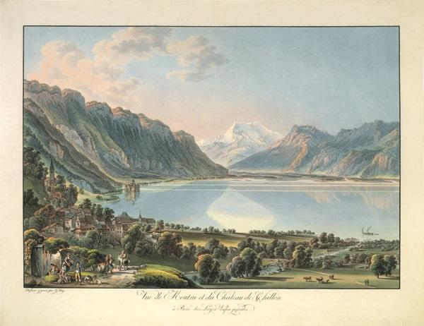 vue de moutru montreux et du château de chillon by gabriel ludwig lory