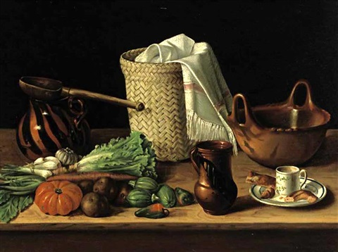 still life with pitcher and bowl by josé agustín arrieta