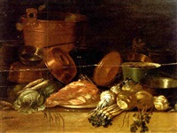 copper pots and pans, onions, asparagus, cabbage and a pig's head on a table (+ copper pots and pans, parsnips, turnips, cabbage and meat on a table; pair) by pieter van steenwyck