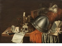 a plumed helmet, a skull with shells, a candle and an hourglass with other objects on a draped table by adriaen verdoel