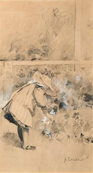 girl in the garden by albert edelfelt