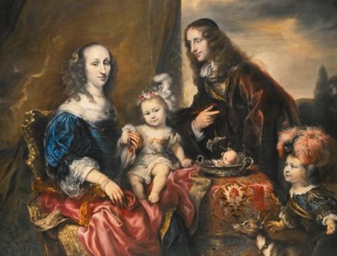 an elegant family portrait traditionally identified as colonel john hutchinson and his family by jürgen ovens