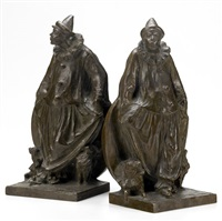 untitled - clown and dogs (bookends; 2 works) by charles henry humphriss