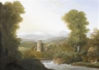flusslandschaft mit ruine und figurenstaffage im frühling by anton albers the elder