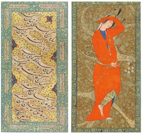 NASTALIQ CALLIGRAPHY AND AN ELEGANT LADY by Anonymous-Persian