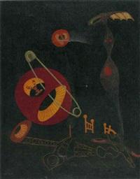 composition surrealiste fond noir by michel tapié