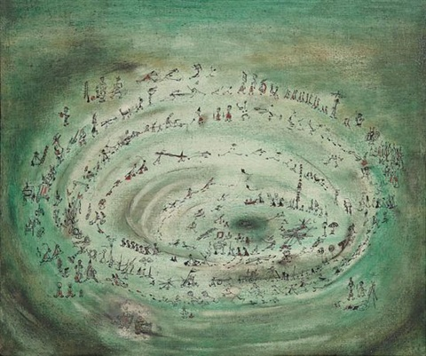 untitled circular procession of figures by norman lewis
