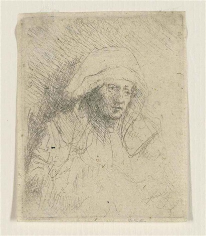 a sick woman with a large white headdress (saskia) by rembrandt van rijn