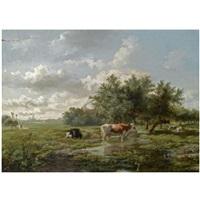 cows in a summer landscape by albertus gerardus bilders