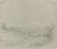 a path around a knoll, cottages beyond by thomas gainsborough