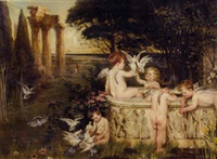 an arcadian landscape with cupids bathing in a marble tub by margarethe loewe-bethe