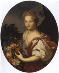 portrait of a lady in a burgundy dress, holding flowers, in a landscape by frans van der myn
