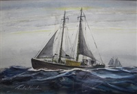 untitled clipper ships by charles kaeselau