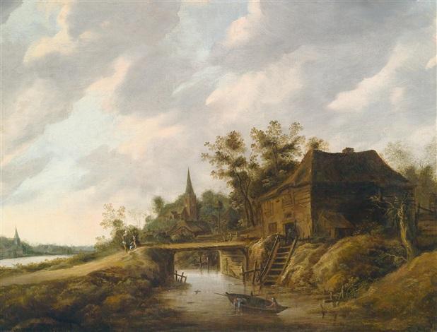 holländische fusslandschaft mit einem bauernhaus und einer kirche sowie fischern in einem boot by salomon rombouts