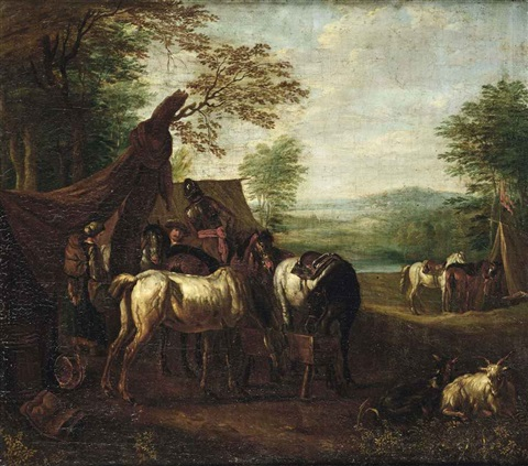 a cavalry setting up camp by pieter van bloemen