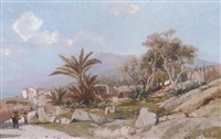 a coastal landscape at bordighera by karl lorenz rettich