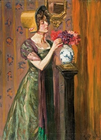 lady with flowers by gottfried albert maria bachem