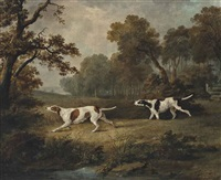gun dogs in an extensive landscape by dean wolstenholme the elder
