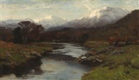 a river landscape with distant snowy peaks by david farquharson