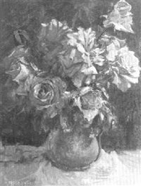 still life of red roses in a green vase by harry freckleton