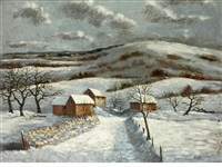 coombe hills, winter by george bissill