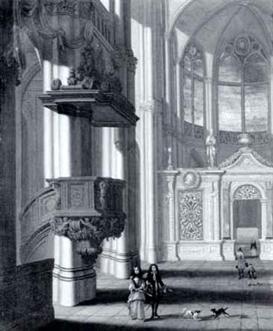 gothic church interior with elegant figures before an elaborate screen by wilhelm schubert van ehrenberg