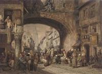 a busy market day by louis tesson