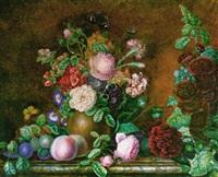 bouquets de fleurs, et fruits, sur un entablement by gabrielle fontaine