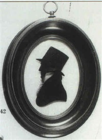 a gentleman, profile to the left, in coat, frilled shirt,  tied cravat and top hat by william rought